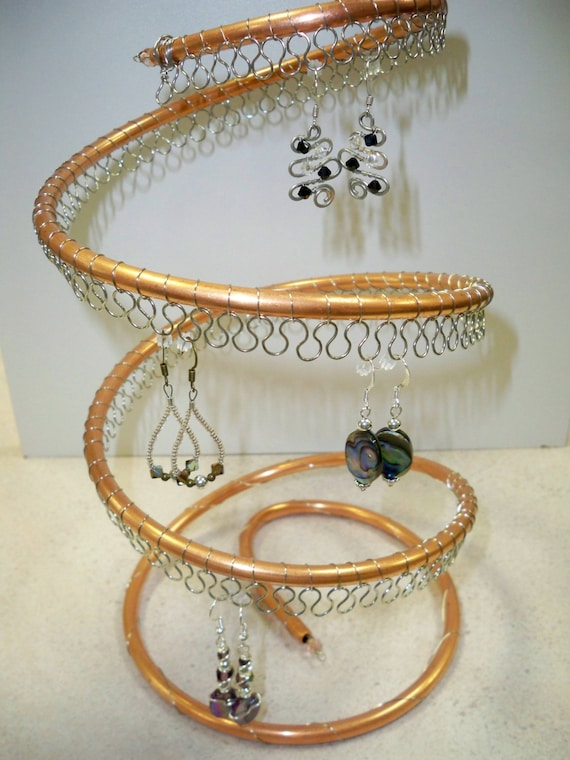 Spiral copper earring tree holder organizer about 60 pairs for Copper pipe jewelry stand