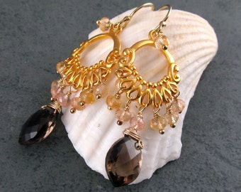 Imperial topaz chandelier earrings in 24k gold vermeil, handmade smokey quartz earrings-OOAK November birthstone