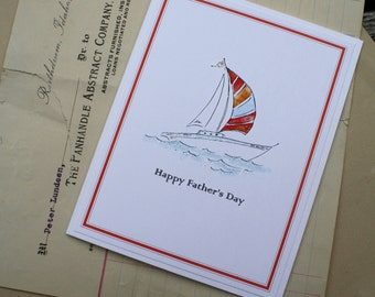 Happy Father's Day Sailing Sailboat Spinnaker Handmade Greeting Card Blank Inside