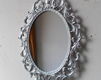 Ornate Princess Mirror in Shiny Silver, 13 by 10 Inch Vintage Metal Oval Frame, Apartment and Home Decorating
