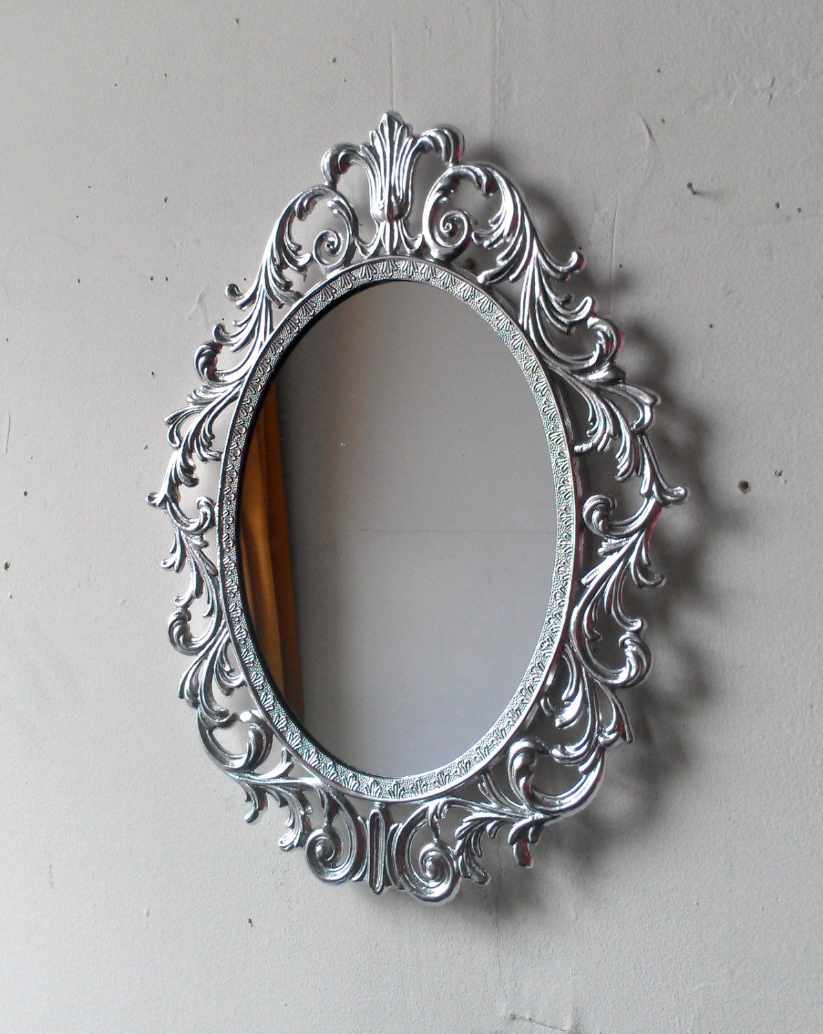Ornate princess mirror in shiny silver 13 by 10 inch vintage for Ornate mirror