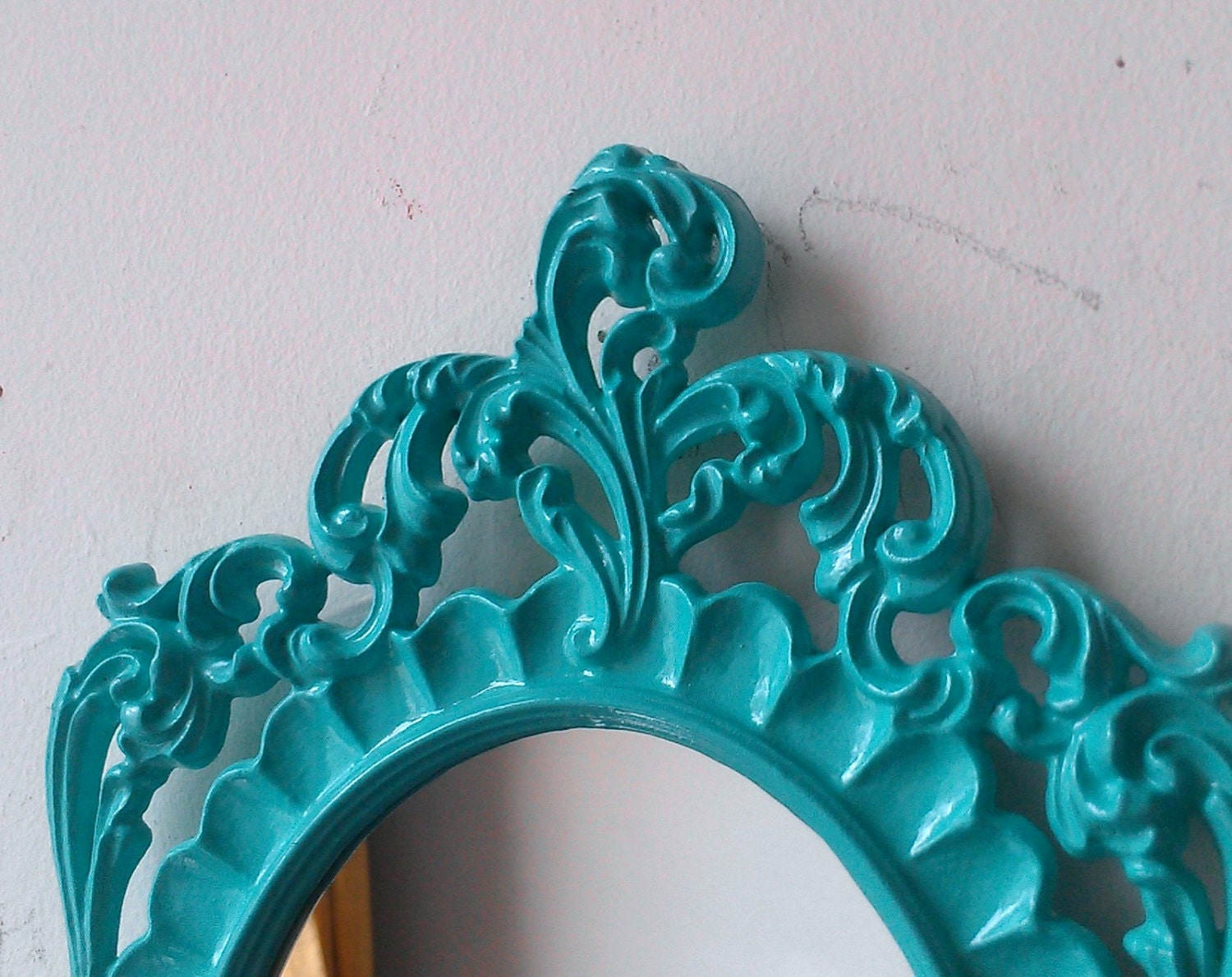 Turquoise Wall Mirror In Highly Ornate Vintage Oval Frame