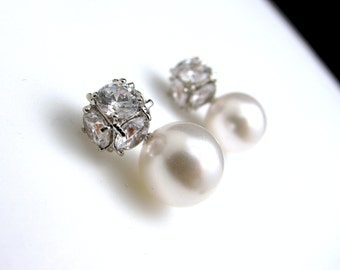 Bridal wedding simple elegant  white pearl on cubic zirconia earring post - Free US shipping