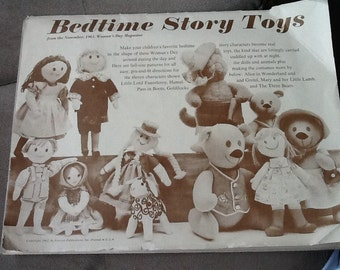 Vintage 1961 Sewing Pattern Booklet BEDTIME STORY TOYS to make Nursery Rhyme Dolls and Animals