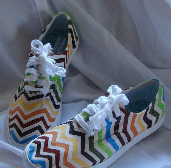 painted tennis shoes chevron stripes by rimagine on etsy