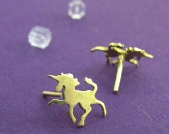 Tiny Brass Unicorn Earrings