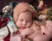 Reserved for Jacqueline Crochet Baby Hat, Photography prop, Scalloped Bonnet, Newborn Photo Shoot Prop by Cream of the Prop