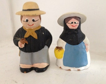 2 handmade clay little people pair couple statue ornament