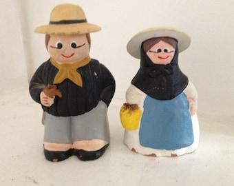 Vintage clay people, hand made clay, vintage clay figures, vintage figurines, clay sculptures, little clay people, vintage people statues