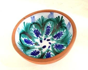 Painted clay bowl, hand painted bowl, ceramic bowl, pottery bowl, decorative bowl, handmade bowl, trinket bowl, stoneware bowl, clay dish