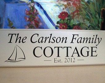 Personalized Cottage Sign, Carved Lake House Beach House, ...The Difference is in the Detail...8x24