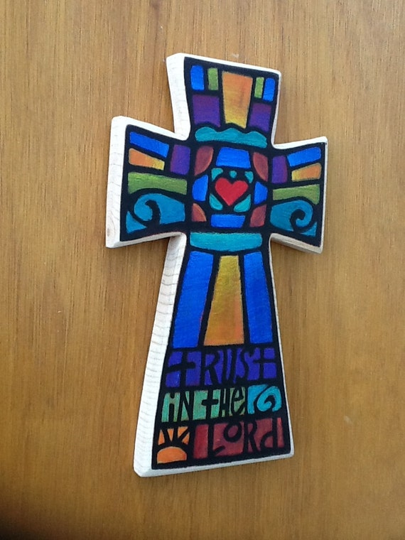 Trust Wall Cross, Hand Painted Decorative Cross, Any Occassion Gift
