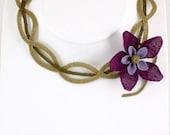 Purple Floral Choker Necklace,Crochet Plum Necklace,Burgundary Flower Bib, Purple Crochet Flower Necklace,Statement Necklace,