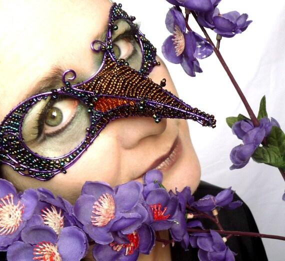 Humming bird masquerade mask, purple,womens,costume, accessories, handmade