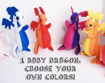 1 Baby Dragon felt plush stuffed animal- Pick your own custom colors