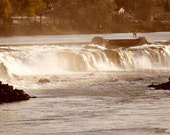 Willamette Falls, Fine Art Photography, Waterfalls, End of the Oregon Trail, Pioneers, Homesteaders, Rustic, Water Travel,Vintage Sepia tone
