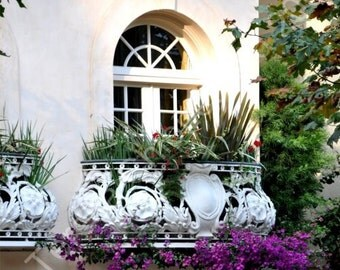 Beautiful Balcony Photo Print, San Francisco Home Decor, Trailing Purple Bougainvillea Photography, Floral Print, Architectural Wall Art