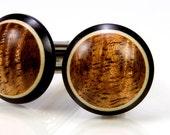 Figured Hawaiian Koa Ebony Holly Wooden Cufflinks - Wood Cuff Links