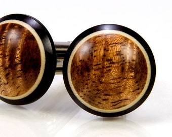 Figured Hawaiian Koa Ebony Holly Wooden Cufflinks - Wood Cuff Links - 5th Anniversary Gift - Wedding Party Gift - Father's Day Gift