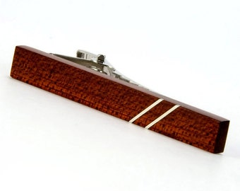 Tie Bar - Wooden Tie Clip - Bloodwood Silver Inlay Tie Bar - Perfect Gift for Father's Day, Wedding, Graduation, Anniversary