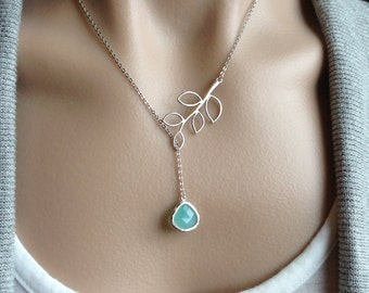 Silver Twig Lariat with  Mint Opal Glass Teardrop -  wife, Christmas, girlfriend, mother, sister, bridesmaid, romantic, daughter, birthday