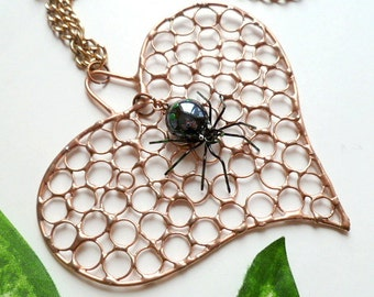 Handmade Copper Heart Necklace With Black Spider and Heavy Chain Perfect for Entomologists and Bug Lovers