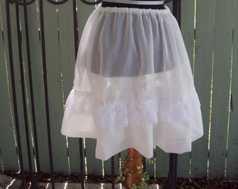 Ready to Ship - Ivory Sheer with Lace - Sheer Skirt