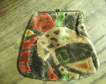 Vintage Carpet Bag Multi Color Clutch Bag Purse