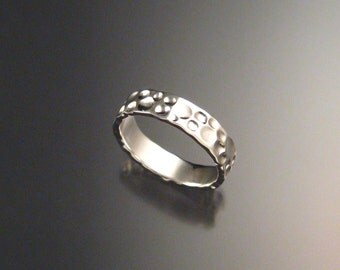 14k White Gold Moonscape Mans Wedding band Unique Handmade ring for men made to order in your size