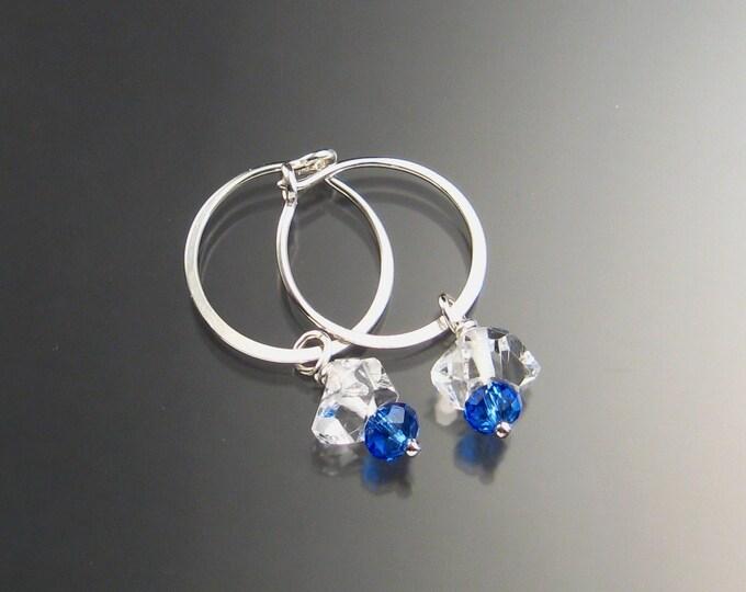 Natural Quartz Crystal Birthstone Hoop Earrings September birthstone Sapphire blue Hoops in Sterling silver