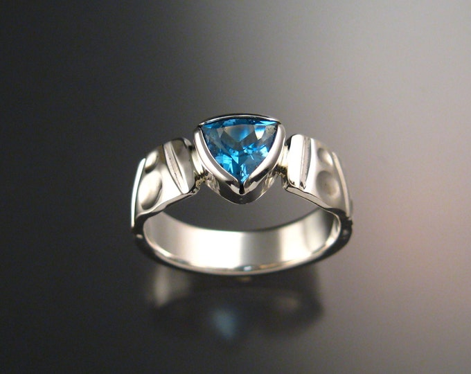Blue Topaz ring Sterling Silver Triangle Stone bezel setting ring made to order in your size