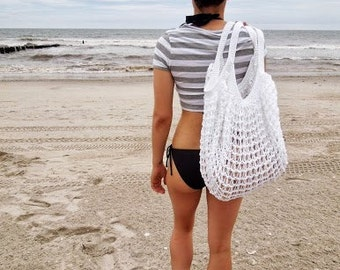 White Oversized Beach Bag - Crochet Knit - Market Tote -  Made To Order