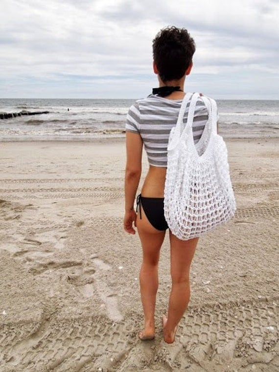 White Oversized Beach Bag - Crochet Knit - Market Tote -  Ready To Ship