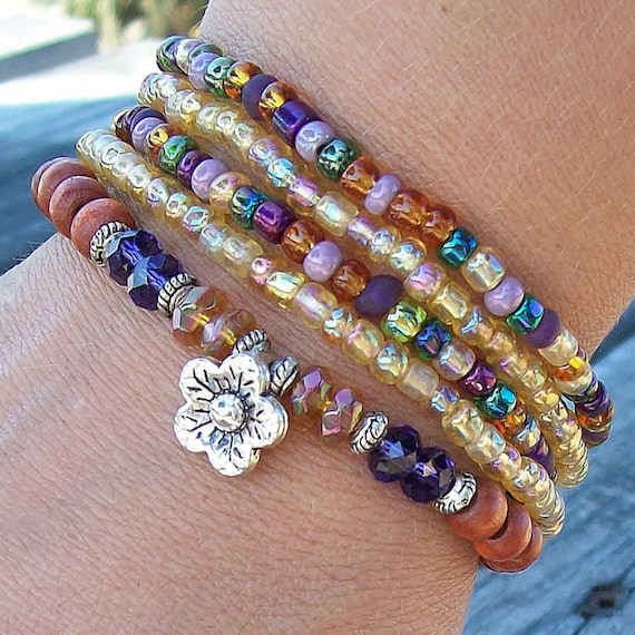 Purple and Topaz Beaded Stack Bracelets with Flower Charm - Stretch Czech Glass and Wood