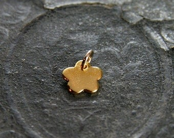 Initial Gold Daisy Charm, Custom Stamped Letter Personalized Gold Vermeil Pendant - Add a Dangle
