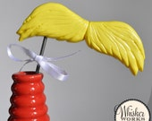 Mustache on a STEEL ROD - The Lorax - Bright Yellow Plastic Party Prop