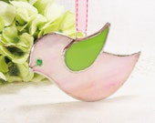 Pink Iridescent and Lime Green Birdie with Ribbon (ready to ship)