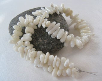 10 Inch strand smooth White coral branch Beads