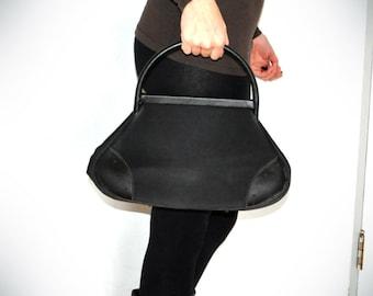 Velvet and Leather Black Purse Hand Bag