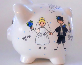 Honeymoon Fund Bride and Groom Piggy Bank Engagement Gift
