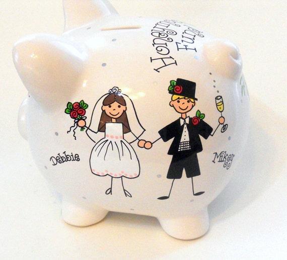 Piggy Bank Bride And Groom Personalized Wedding Honeymoon Fund