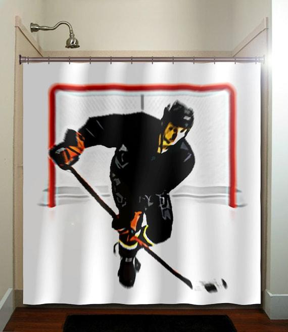Hockey shower curtain bathroom decor fabric kids bath window curtains
