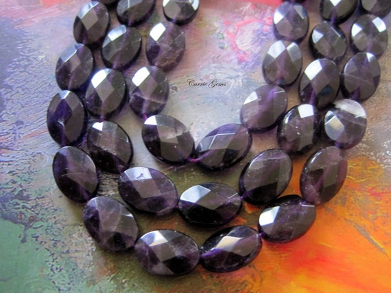"""Amethyst Faceted Oval 10mmx14mm Beads, 7.5"""" long, 13 pcs"""
