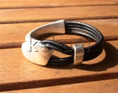 women black leather bracelet and sterling silver plated half cuff button clasp