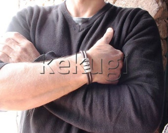 men rugged brown leather bracelet cuff sterling silver plated findings