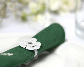 White leather flower napkin rings Wedding Party table decor - set of 4 Christmas table
