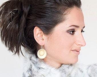 Cream leather circle Earrings SALE
