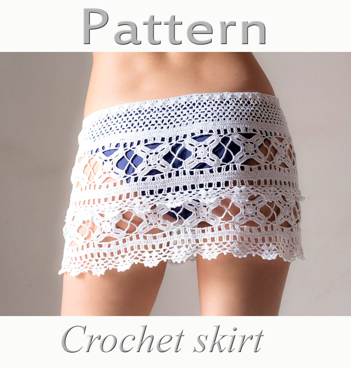Crochet beach skirt PATTERN PDF crochet cover up by katrinshine