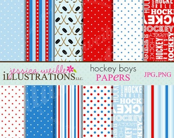 Hockey Boys Cute Digital Papers - Commercial Use OK - Hockey Papers, Hockey Backgrounds, Borders
