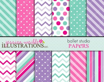 Ballet Studio Cute Digital Papers Backgrounds for Invitations, Card Design, Scrapbooking, and Web Design